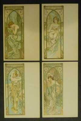 """RARE Set 0f 4 Art Nouveau """"Times of the Day"""" Postcards by  Alphonse Mucha c1900"""