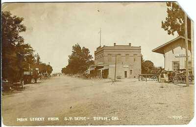 Main Street from S.P. Depot, RIPON, CAL. ~ RPPC ~ San Joaquin County, CA