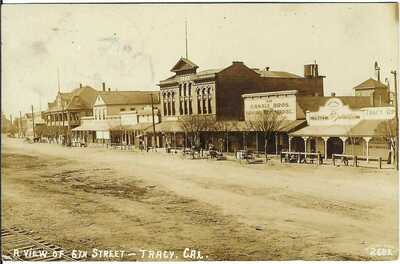 A View of 6th Street, TRACY, CAL. ~ c.1910 ~ RPPC ~  San Joaquin County, CA