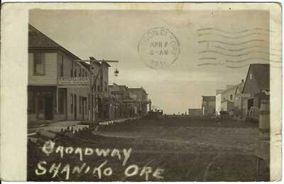Broadway (E St), SHANIKO, ORE.~ c.1916 ~ RPPC~ Saloon Sign~ Wasco County, Oregon