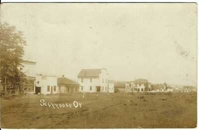 SCAPPOOSE, OR ~ Town View ~ c.190? ~ RPPC ~ Columbia County, Oregon