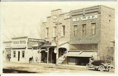 GARDNERVILLE, NEV. ~ Street Scene ~ RPPC ~ French Hotel ~ I.O.O.F. Hall ~ c.1923