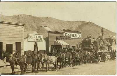 RAWHIDE, NEV.~ Horse Freight Team ~ Palace Cafe ~ Home Meat Market~ RPPC~ c.1908