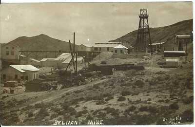 Belmont Mine, NEV. ~ c.1911 ~ Ghost Town ~ Reno & Goldfield R.P.O. Cancel ~ RPPC