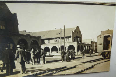 RPPC c1910 LOS VEGAS, NEW MEXICO at TRAIN STATION POST CARD