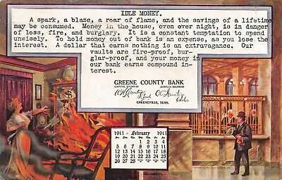 Tennessee postcard Greeneville Greene County Bank February calendar 1911 fire