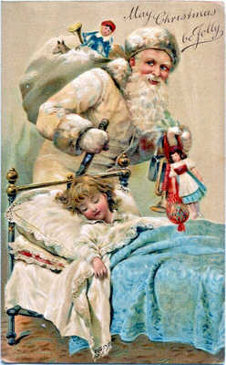 Christmas~OLD WORLD SANTA CLAUS WHITE ROBE SNEAKS PAST VICTORIAN GIRL~Postcard