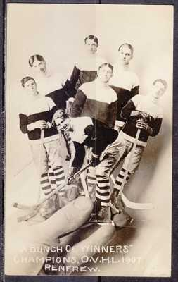 Hockey, Champions, O. V. H. L., 1907, Renfrew, Ontario, Real Photo