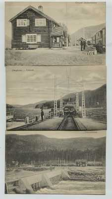 3 1910 era Tinnoset Norway Postcards Jernbanestation Faergebroen