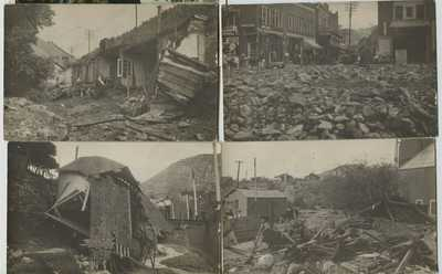 4 1910 era Bisbee Arizona after flood Real Photo Postcards RPPC