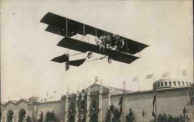 1915 PPIE RPPC Art Smith flying Aviator Real Photo Post Card Vintage