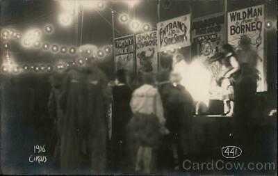 RPPC Champaign,IL 1916 Circus Side Show University of Illinois Double Exposure