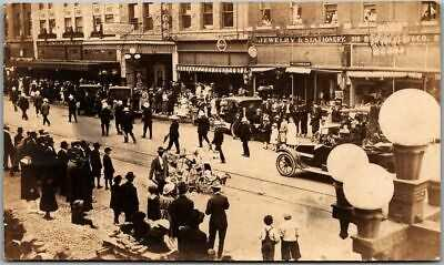 Great Falls, MT RPPC Postcard LABOR DAY PARADE Central Ave. Street Scene c1910s