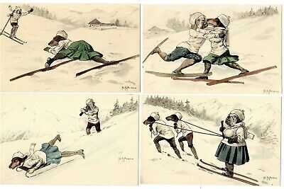 POSTCARDS (4) DOGS SKIING BULLDOG DACHSHUND SIGNED HOFFMANN (NP)