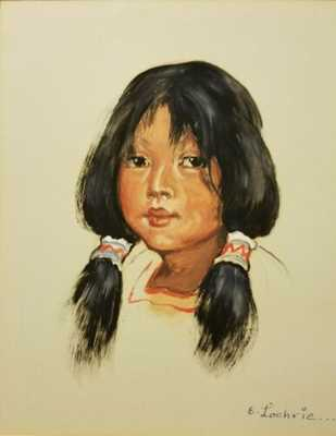 Elizabeth Lochrie - original watercolor - Native American - Montana - Old West