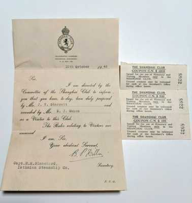 1946 CHINA SHANGHAI CLUB Visitor Invitation Coupons Letter Isthmian Steamship