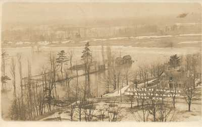 MICH RPPC Flood Oscoda Michigan Real Photo Postcard