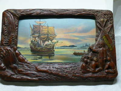 VTG Carved WOOD PICTURE FRAME PLYMOUTH MASS MAYFLOWER 1620 TICHNOR Postcard