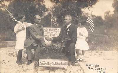 FL 1914 Florida REAL PHOTO Memorial Day Flags in St Petersburg, FLA  - Civil War