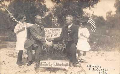 FL 1914 Florida REAL PHOTO Memorial Day Flags in St Petersburg, FLA  - Civil War