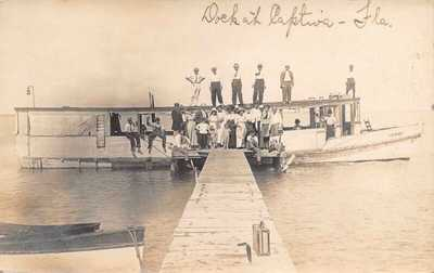 FL 1913 RARE! REAL PHOTO Florida Genevieve at Dock Captiva Island, FLA - Sanibel