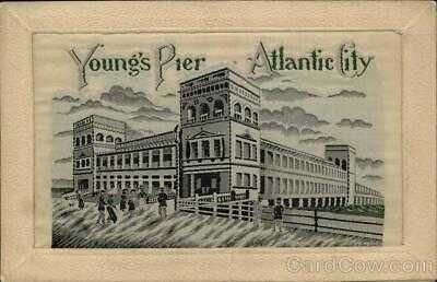 Atlantic City,NJ Young's Pier,NJ Woven Silk Postcard New Jersey Vintage