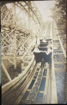 RARE VIEW OF THE ROLLER COASTER RIDE IN CENTRAL PARK, ALLENTOWN, PA  real photo