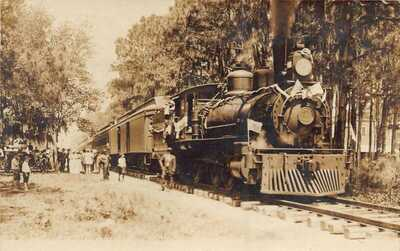 FL 1914 Florida REAL PHOTO FIRST TRAIN TO CLEARWATER Tampa & Gulf Coast Railroad