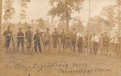 1909 REAL PHOTO Civil Engineering Party University of Florida at Gainesville FLA