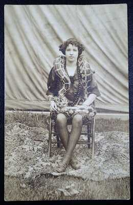 SNAKE CHARMER LADY WITH LARGE BOA RPPC REAL PHOTO POSTCARD RPPC CIRCUS