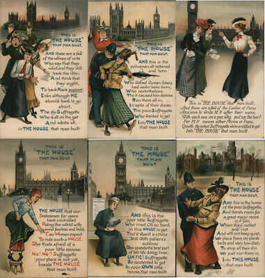 Set of 6: London Suffragettes Postcard Vintage Post Card