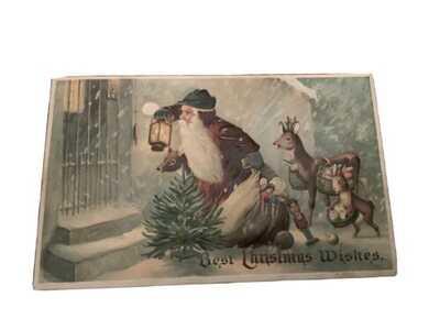 Rare Early White Robed Santa Claus vintage Christmas Postcard Children 7497