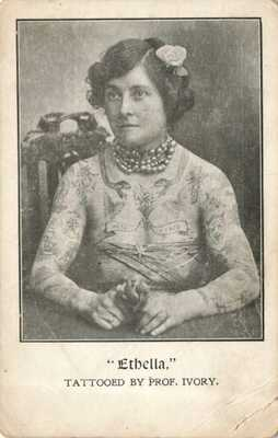 Rare 1910s Postcard ETHELLA Tattooed Woman by Professor Ivory Photo tattoo