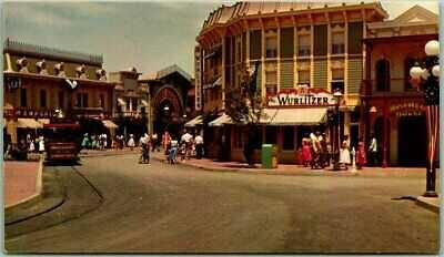 "1950s DISNEYLAND California Postcard ""RUDOLPH WURLITZER COMPANY Main Street USA"""
