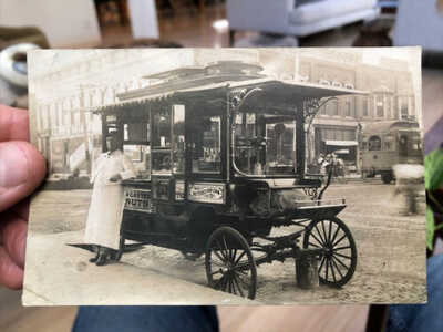 1900's RPPC Photo Postcard Roasted Nuts & Popcorn Street Vendor Waterloo Iowa