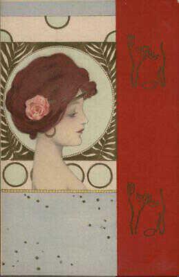 Raphael Kirchner Girl & Rose with Red Border Postcard Vintage Post Card