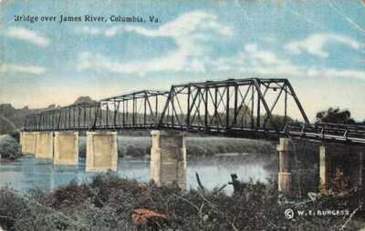 Columbia Virginia James River Bridge WE Burgess Vintage Postcard AA26629