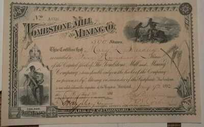The Tombstone Mill And Mining Co. Jan 10, 1882. Stock Certificate. 500 Shares.