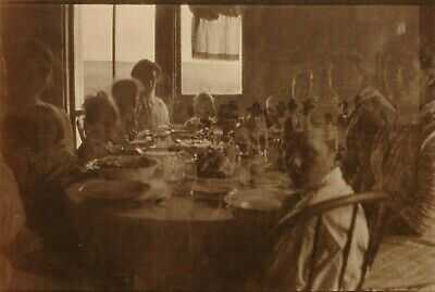 Antique (c.1905) Edwardian Haunted Family Dinner w/ Ghosts RPPC