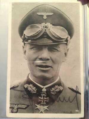 Erwin Rommel signed postcard.
