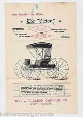The Victor Horse Carriage Flint Michigan Antique Advertising Broadside Flyer