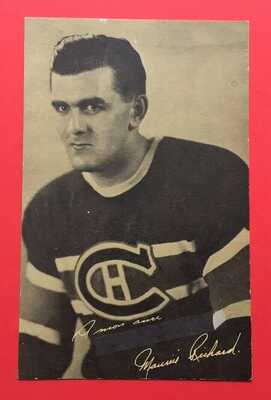 Scarce 1940s Canadiens MAURICE RICHARD Sirop 2 Sapins Promotional Postcard