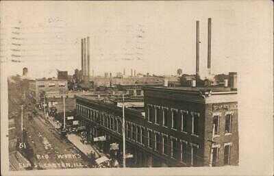 1910 RPPC Canton,IL Parlin & Orendorff Company,Elm Street Fulton County Postcard