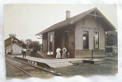 VINTAGE BUENA VISTA IL ? RPPC REAL PHOTO POSTCARD RAILROAD STATION DEPOT TRAIN