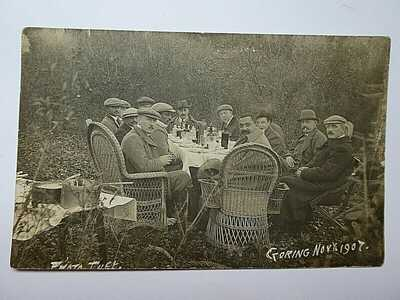 1907 Real Photo Postcard Shooting Party Goring Sussex & Cricketer Prince Ranjit