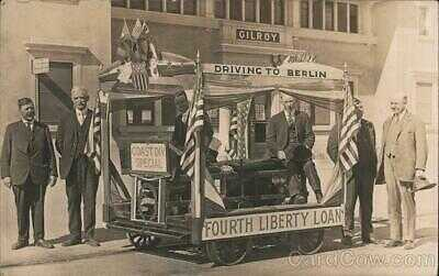 1918 RPPC Gilroy,CA Fourth Liberty Loan Parade Float Santa Clara County Postcard