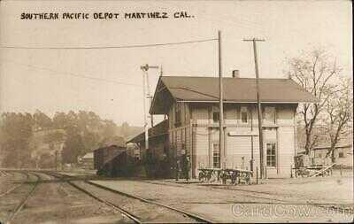 RPPC Martinez,CA Rare: Southern Pacific Depot Contra Costa County California