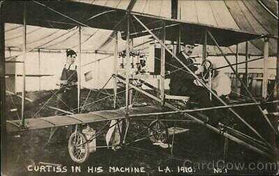Aviator RPPC Los Angeles,CA Glenn Curtiss in his machine L.A. 1910 California