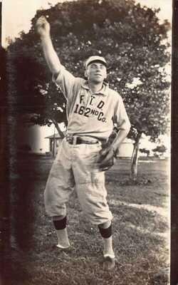 FL 1910's REAL PHOTO Florida Baseball Player 162nd Company Fort Dade Egmont Ke