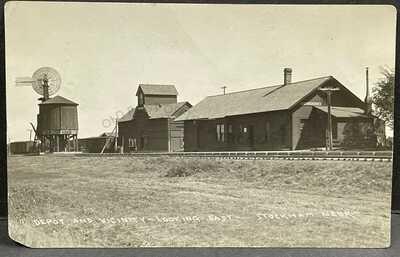 Stockham, Nebraska-Rare view of Railroad Depot c1914 RPPC Real Photo Postcard